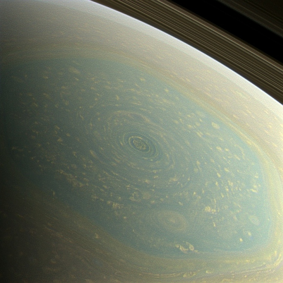 The north pole of Saturn, in the fresh light of spring, is revealed in this color image from NASA's Cassini spacecraft. The north pole was previously hidden from the gaze of Cassini's imaging cameras because it was winter in the northern hemisphere when the spacecraft arrived at the Saturn system in 2004.
