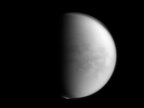 The Cassini spacecraft peers through Titan's thick clouds to spy on the region dubbed 'Senkyo' by scientists.