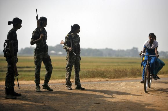 Security forces seen patrolling in a Naxal-hit village in West Bengal