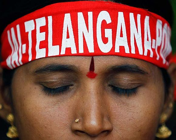 A pro-Telangana protestor demonstrates in New Delhi