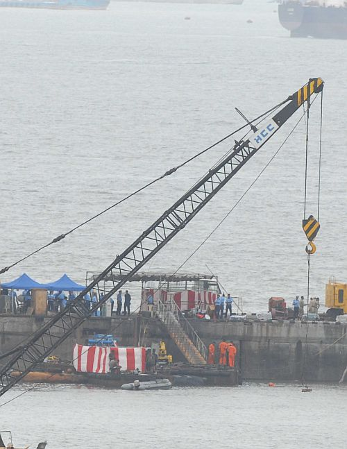Ten months after mishap, INS Sindhurakshak raised out of water
