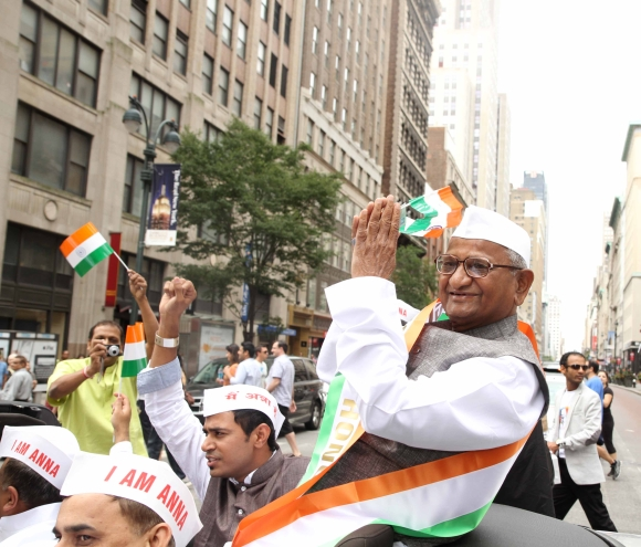 Anti-corruption crusader Anna Hazare flaged off the annual parade along with Balan