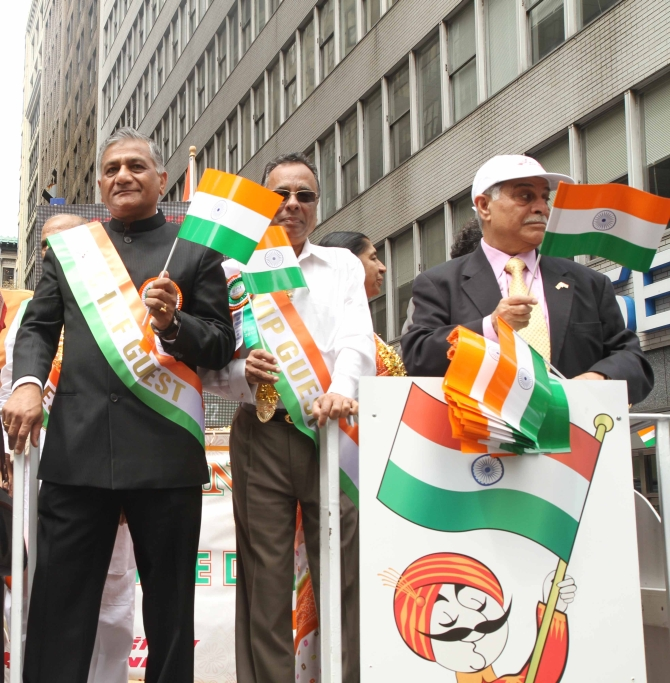 Former army chief V K Singh at the parade