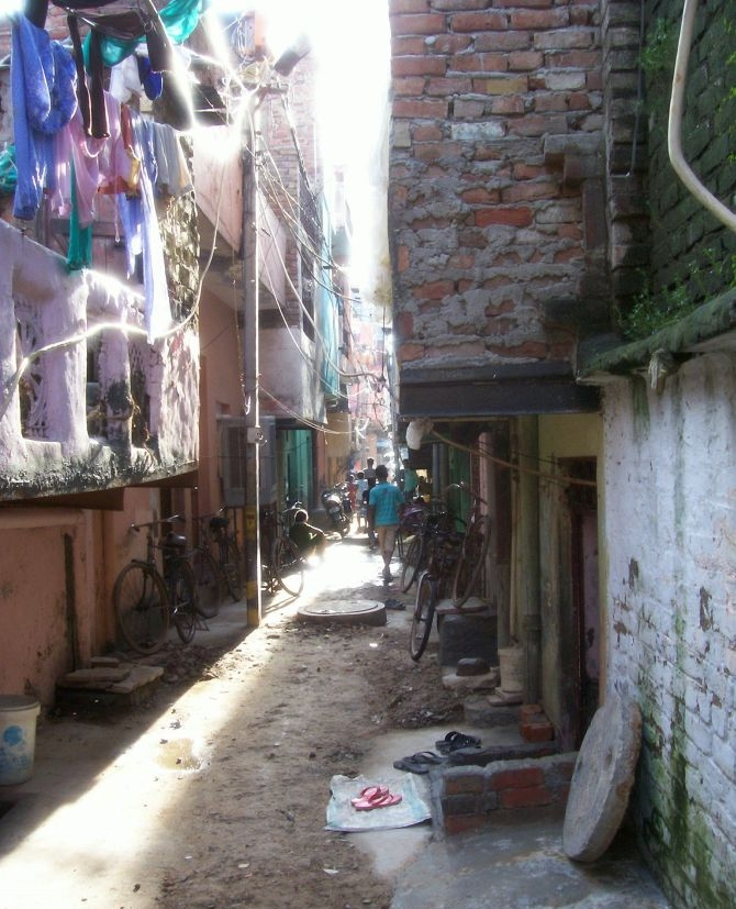 The lane leading up to the family's home in Delhi