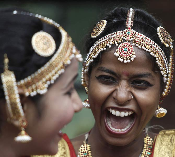 Deaf and mute girls before a dance performance in New Delhi, August 2010.