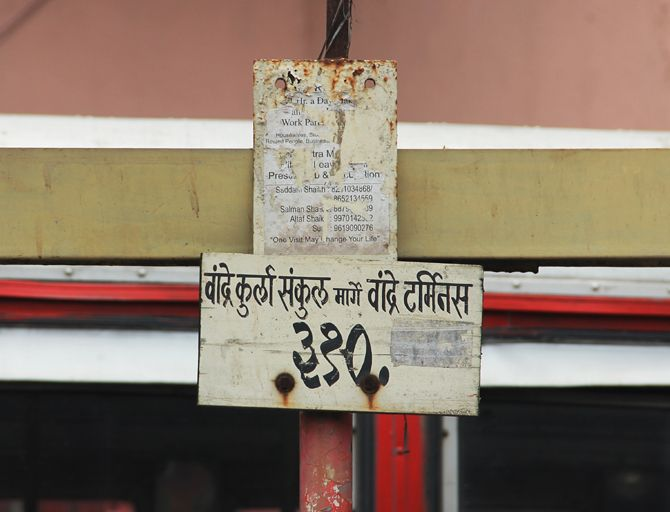 The route sign post at Kurla bus stand