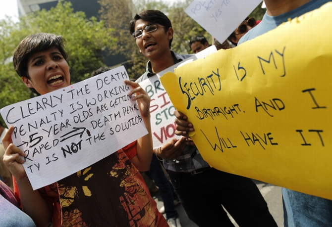 A protest against the increasing number of rape cases, in New Delhi