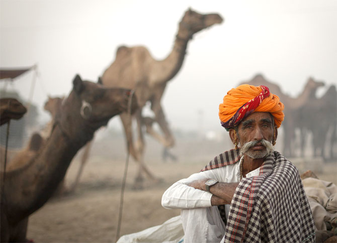 A camel herder at the Pushkar Fair in Rajasthan.