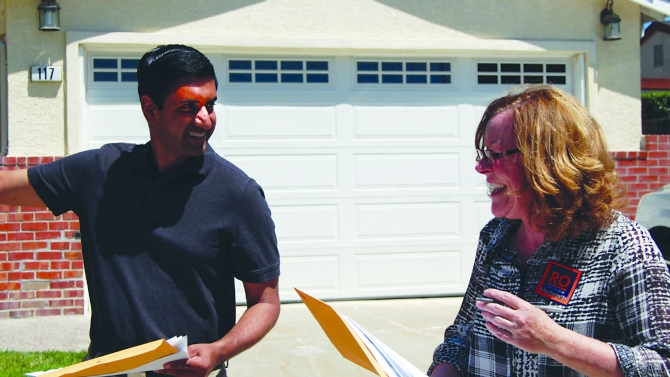 Ro Khanna canvassing in Silicon Valley.