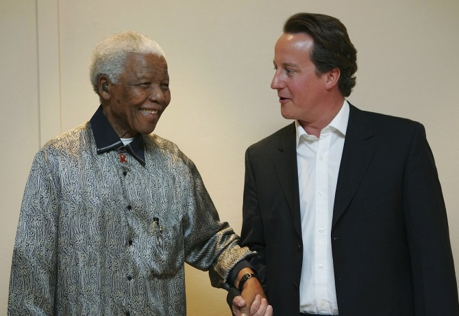 British PM David Cameron meets with Nelson Mandela in the Nelson Mandela Foundation Offices on August 23, 2006 in Johannesburg