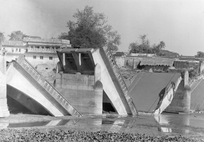 A bridge blown up during the India-Pakistan conflict in 1971.