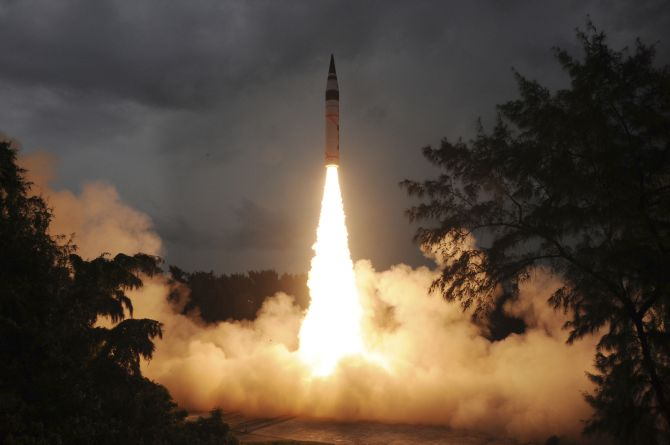 The surface-to-surface Agni-V missile is launched from the Wheeler Island off the coast of Odisha