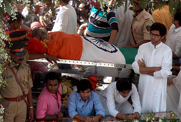 Aditya Thackeray accompanies his late grandfather on his final journey.