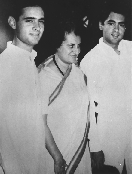 Indira Gandhi with her sons, Sanjay and Rajiv
