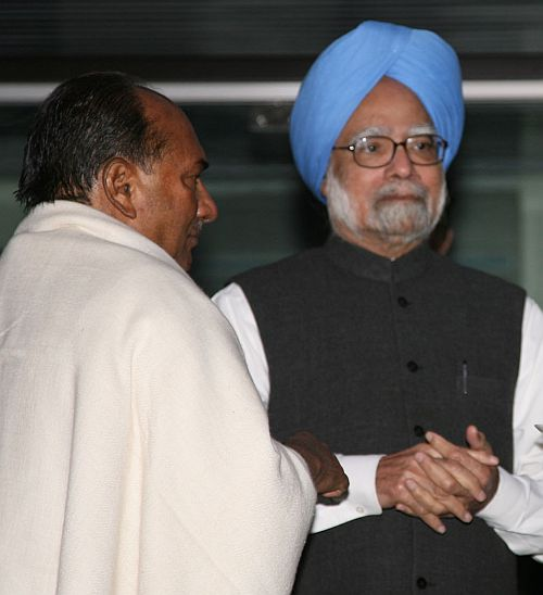 Defence Minister A K Antony with Prime Minister Manmohan Singh