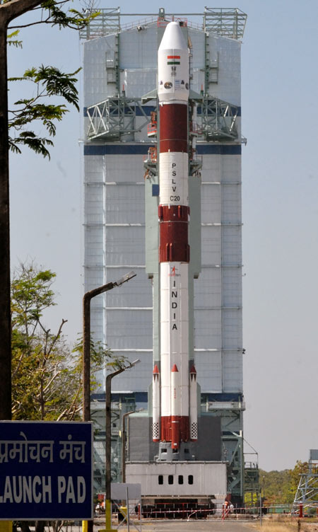 The PSLV C-20 rocket at the lauch pad on Tuesday
