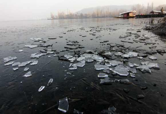 The Dal Lake has frozen as temperatures continue to drop in Srinagar
