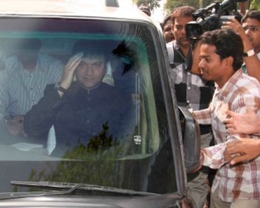 Akbaruddin Owaisi greeted by his supporters on his return from London at the Hyderabad airport on Monday
