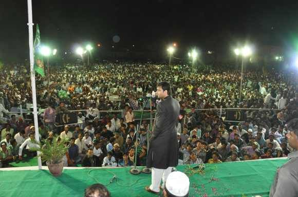 Akbaruddin Owaisi addresses a massive public meeting in Adilabad district on December 24, 2012