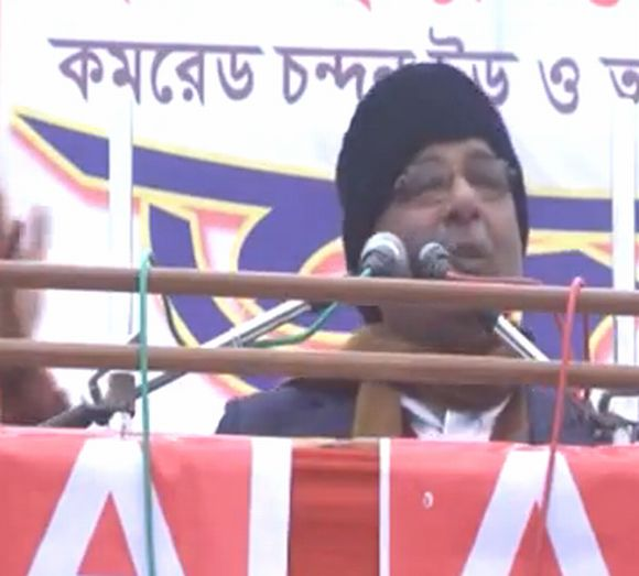 A videio grab if CPI-M leader Anisur Rehman addressing a rally in Bengal's North Dinajpur district.