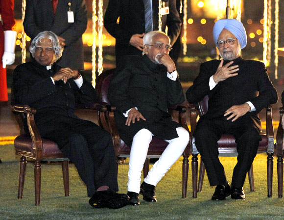 Dr Kalam with Prime Minister Manmohan Singh and Vice President Hamid Ansari