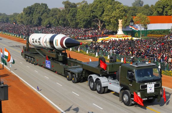 Surface-to-surface Agni V missile is displayed during the Republic Day parade in New Delhi on Saturday