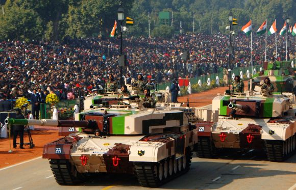 MBT Arjun MK-1 tank passing through the Rajpath during the 64th Republic Day parade in New Delhi