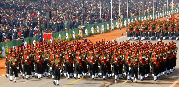 Maratha Light Infantry marching contingent passes through the Rajpath during the 64th Republic Day parade in New Delhi