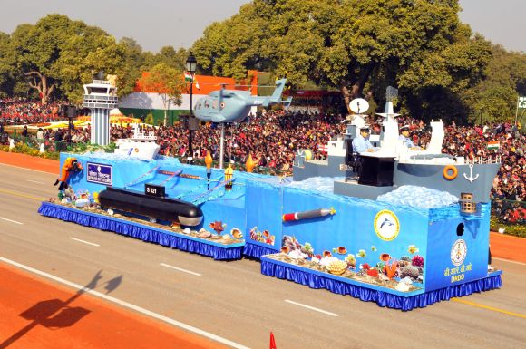 The DRDO tableau passes through the Rajpath during the Republic Day parade in New Delhi