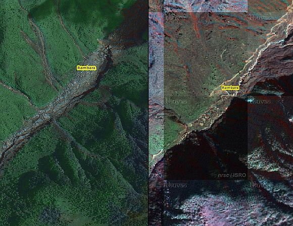 (Left) The village of Rambara before the debris flow; (right) And this is how it looked afterwards. There is nothing left