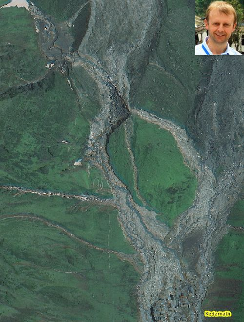 This is the source area of the debris flow. The flow from the northwest occurred after the one from the north-east, based on the juxtaposition of the sediments; and (inset) Dave Petley