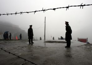 Chinese soldiers at its border with India at the Nathu La Pass in Sikkim.
