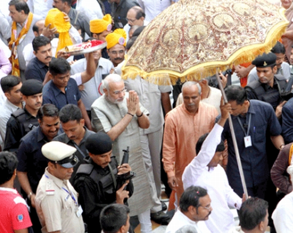 Gujarat Chief Minister Narendra Modi joined the Jagannath Yatra on Wednesday
