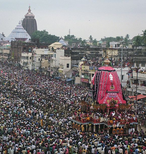 Devotees pull the 'rath' or chariot of Lord Jagannath