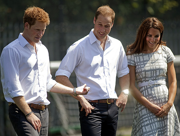 Duchess of Cambridge with Prince William and Prince Harry