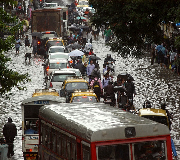 The water-clogged road at Dadar east