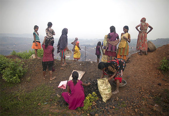 Local women in an open cast coal field in Dhanbad, Jharkhand.