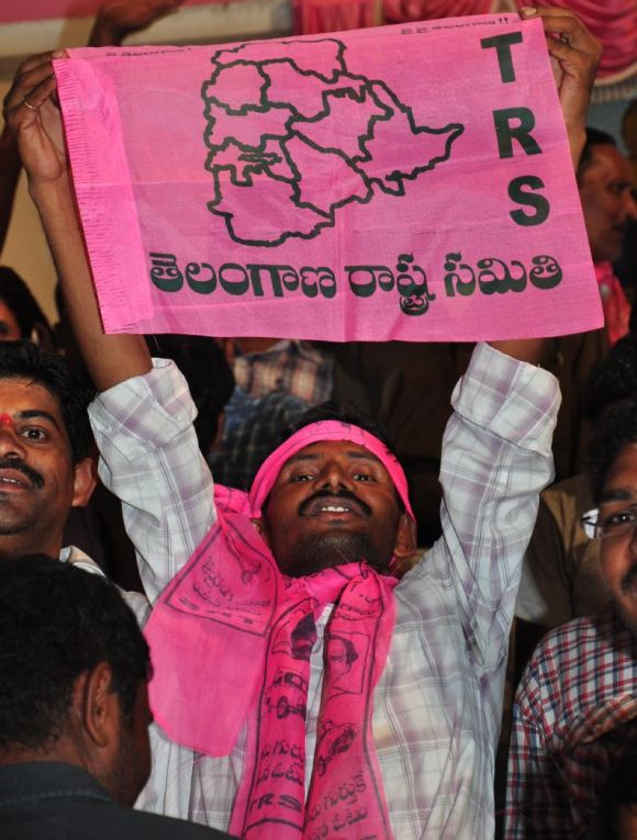The announcement of creation of a separate state of Telangana was welcomed with jubilant celebration