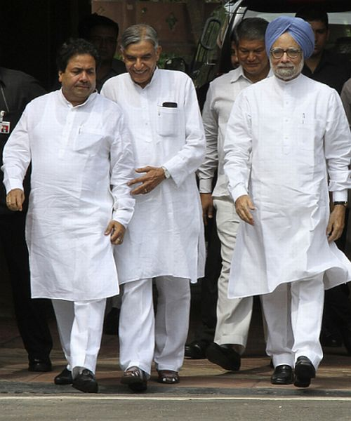 Rajiv Shukla and PK Bansal with Dr Manmohan Singh
