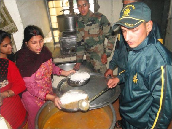 Rescued people being provided food by the army on Thursday
