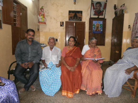 K Praveen's grandparents, with other members of the family