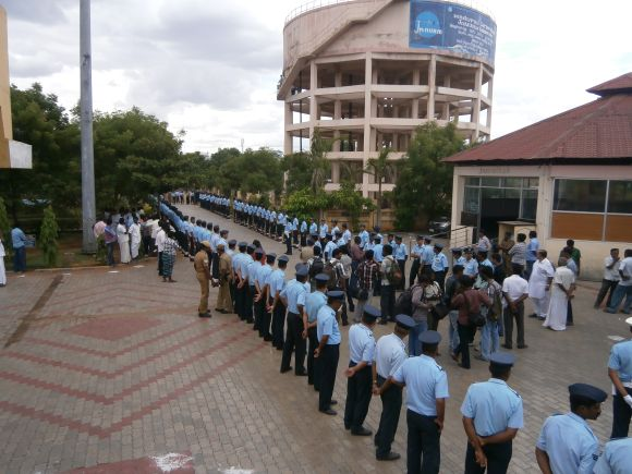 IAF personnel lined outside the crematorium in Madurai