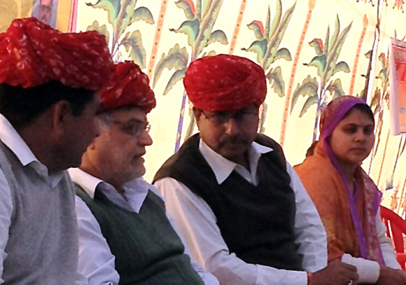 C P Joshi, second from left, would like a bigger role in Rajasthan.