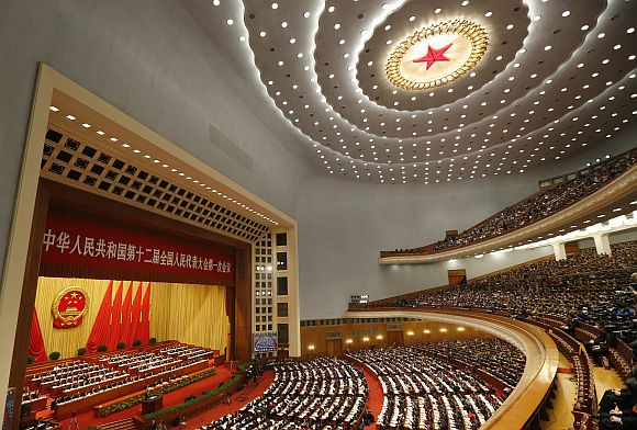 A general view inside the Great Hall of the People during China's Premier Wen Jiabao's speech in the opening ceremony of the National People's Congress