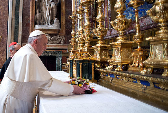 Barely 12 hours after his election, Pope Francis quietly left the Vatican on a private visit to the 5th century Basilica of Santa Maria Maggiore.