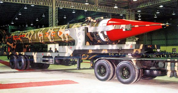 Ghauri missile, capable of carrying nuclear warheads, with a range of 1,500 km, on a mobile launch-pad at an undisclosed location in Pakistan