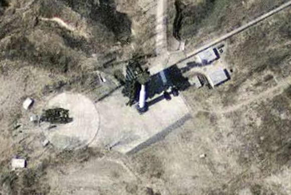 A satellite image of the North Korean missile launch facility at Musudan-Ri