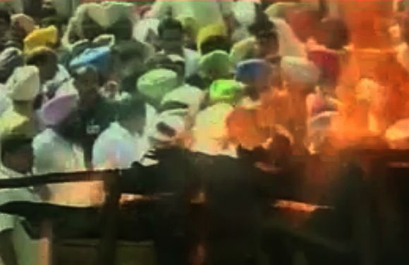 Video grabs of the funeral ceremony