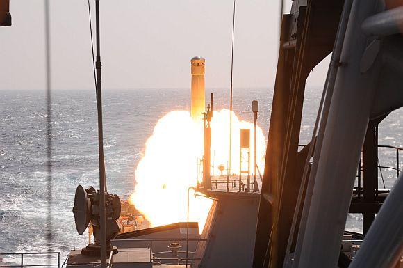 Supersonic BrahMos tested from INS Tarkash