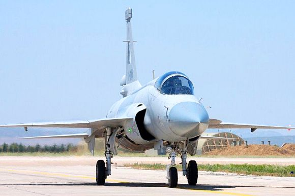 A JF-17 Thunder is ready to take off at the Turkey air show